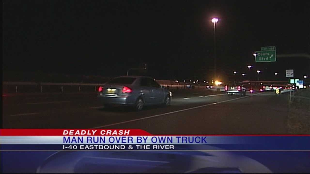 A man was killed when he was run over by his own car on Interstate 40 on Monday night, police said.
