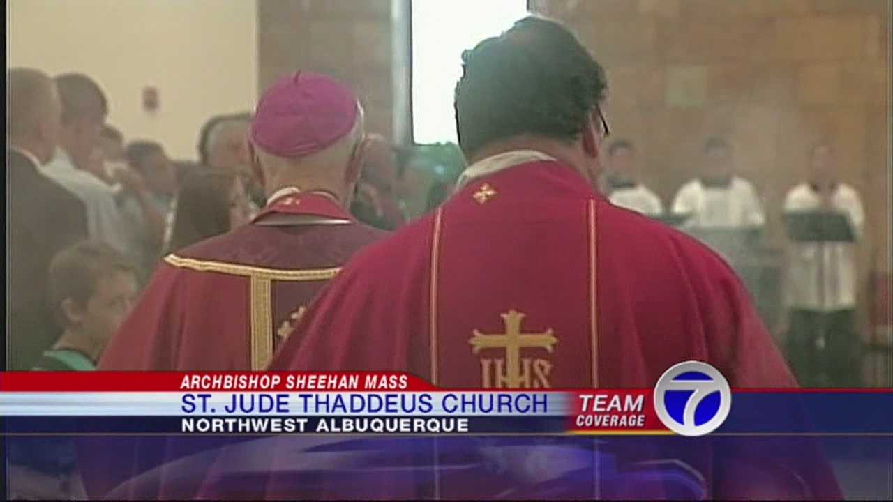 A somber ceremony tonight at a church where parishioners were stabbed. Archbishop Michael Sheehan re-consecrated St. Jude Thaddeus.