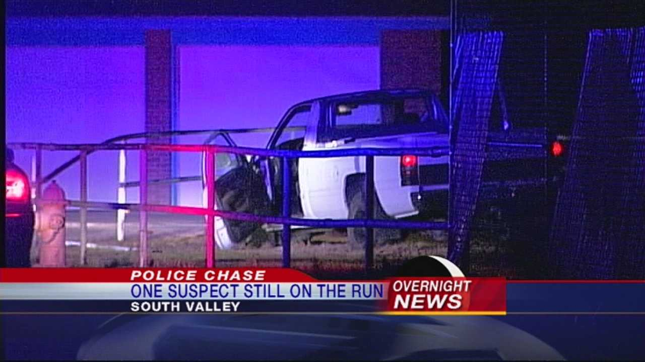 Sheriff's deputies say the driver of a stolen car fled from authorities and eventually crashed into a wall.