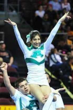 Albuquerque High School Cheer DJ and Savannah showing School Spirit