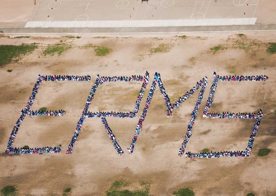 I went up in a little bitty plane to shoot this beautiful picture of the amazing kids at Eagle Ridge Middle School in Rio Rancho. Approximately 770 students and about 50 teachers came out with their school spirit this morning to spell out the initials of the school! I am a proud parent of multiple kids that have attended Eagle Ridge Middle School!