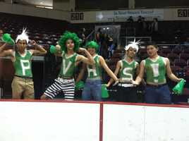 PVHS PepCrew boys show their spirit at the Santa Ana Star Center for the NM High School Boy's State Tournament.