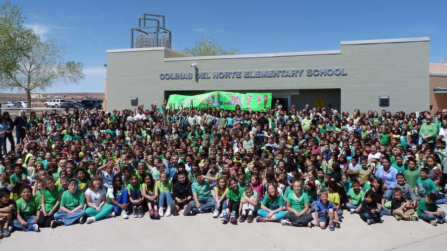 """One of our Colinas Hawks was recently in a horrific car accident, and is in the hosptial. We love her dearly, and the school decided to have a """"Wear Green for Luigi Day"""". We asked everyone in the school to wear green in her honor. She loves the color green, and the character Luigi.We all gathered at the front of Colinas Del Norte in Rio Rancho, and took this picture to let her know that we missed her, and wanted her to get well soon. So you are seeing a photograph of 667 students, and 89 staff members.If we win this """"School Spirit"""" Award, we are planning to donate the money to her Family, to pay for medical expenses."""