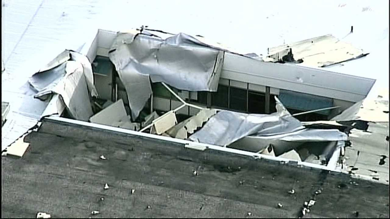 Part of Barranca Mesa Elementary School's roof blew off Wednesday afternoon.