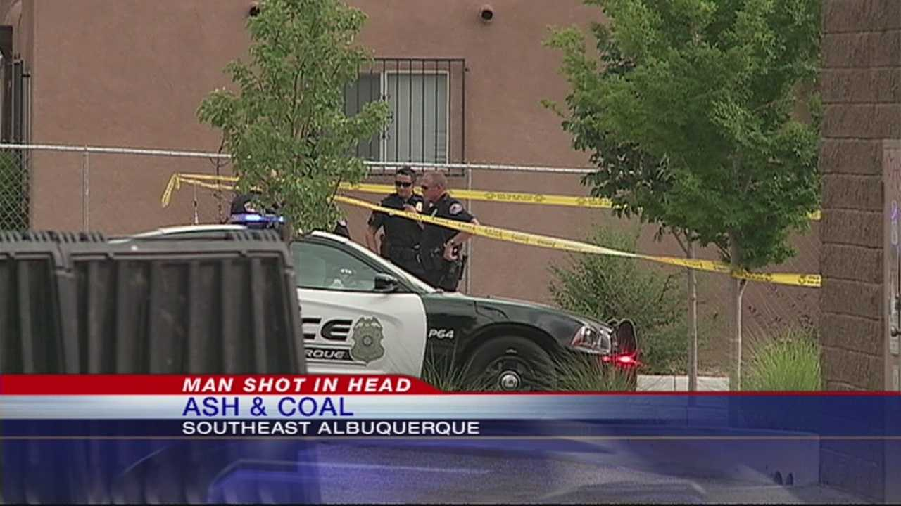 Police are searching for the person who shot a man in the head Thursday afternoon outside an apartment on Coal, near CNM's campus.