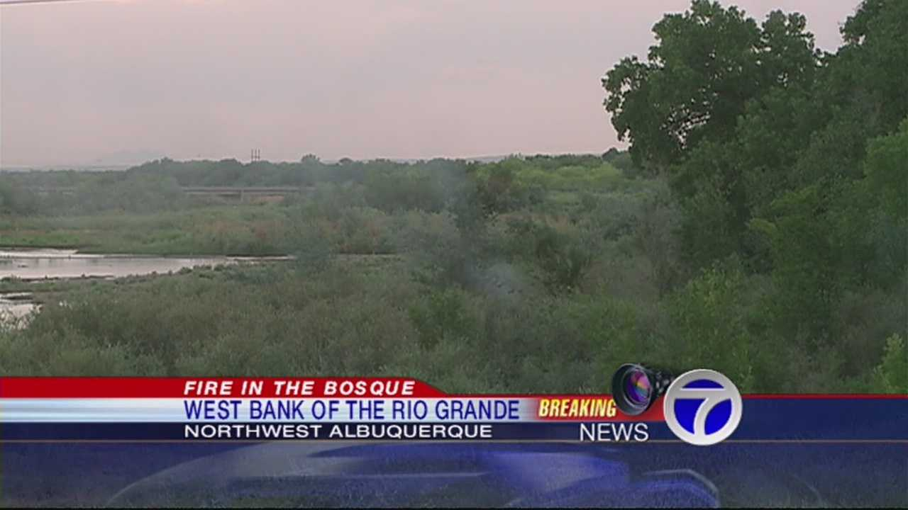 Firefighters from Albuquerque and Bernalillo County contain a fire in the bosque at Alameda and the west bank of the Rio Grande River.
