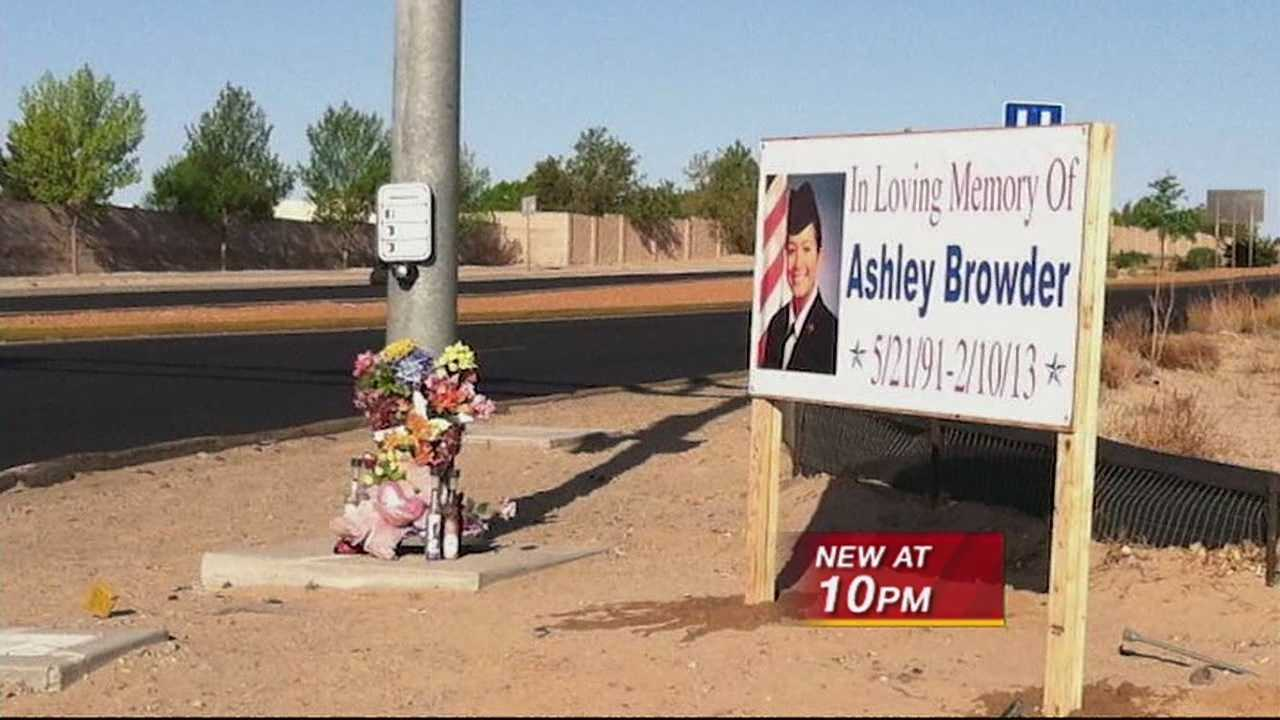 A memorial honoring a young woman killed in a crash involving a former APD officer is gone.  The department of transportation says the sign had to be removed.