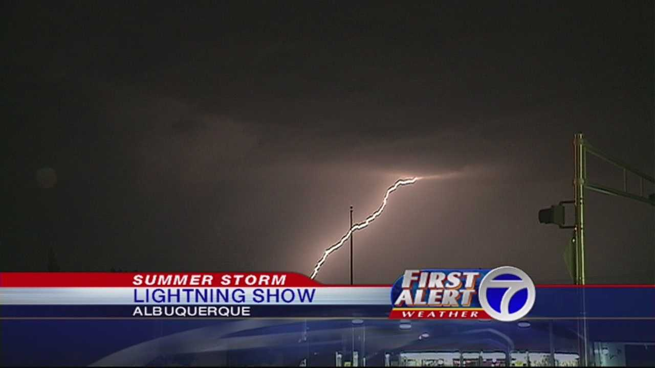 Lightning lit up the sky Thursday night as a storm moved through the eastern part of the city.
