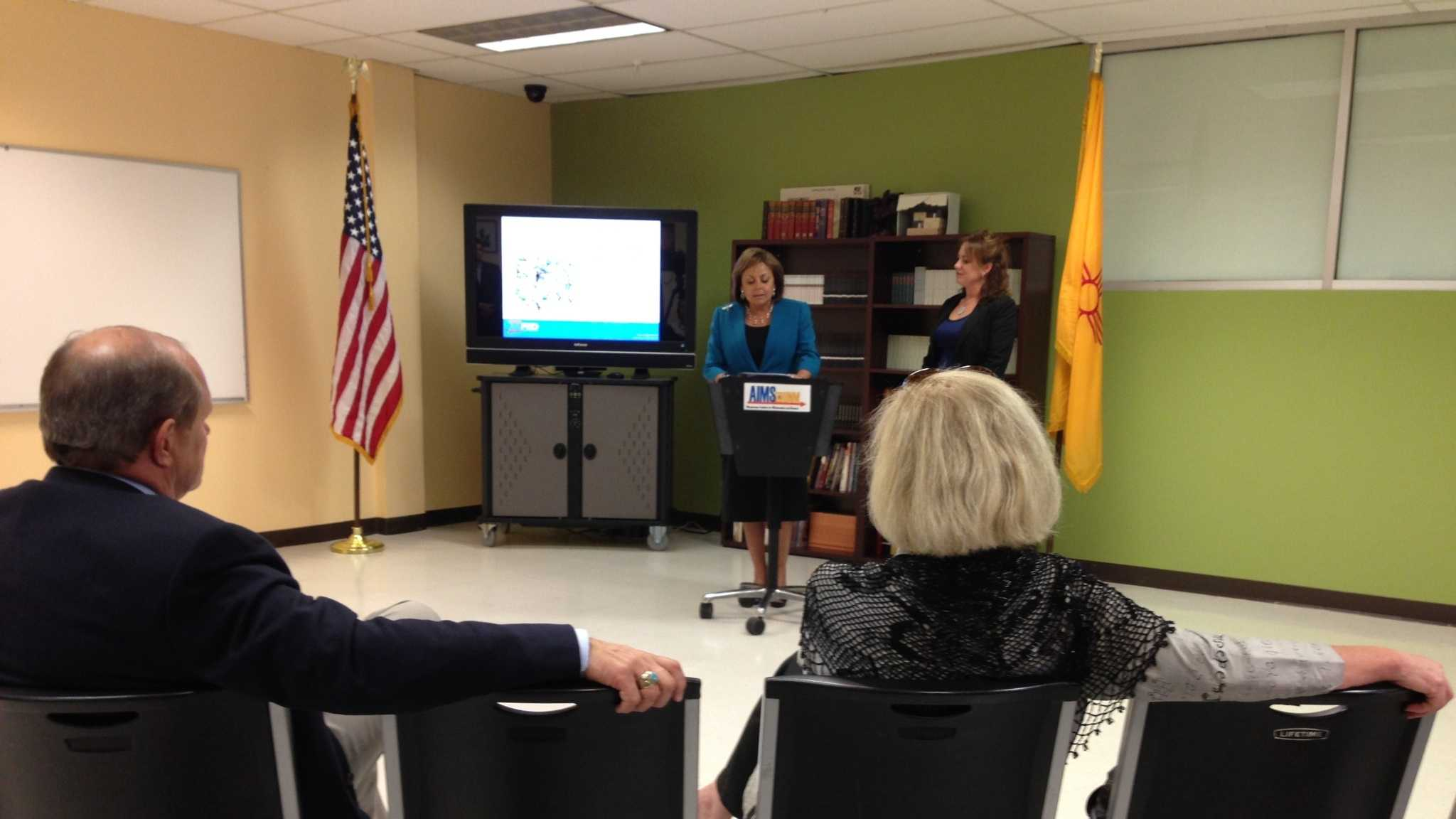 Gov. Susana Martinez discusses school grades at a Thursday news conference.