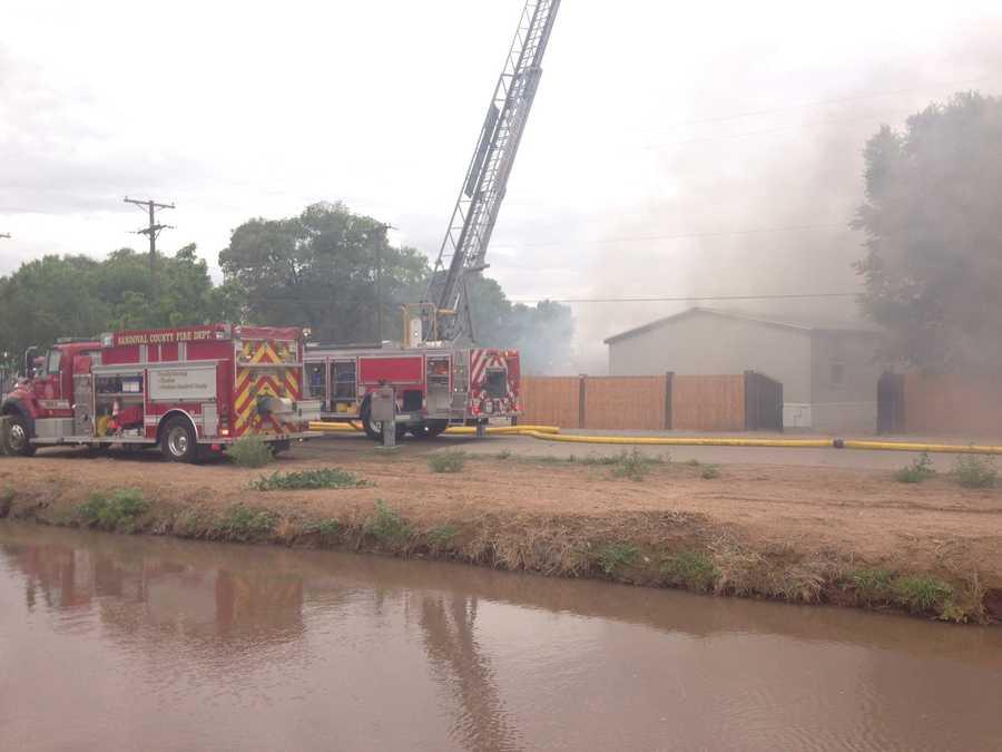 See photos of fire crews battling a blaze in Bernalillo.