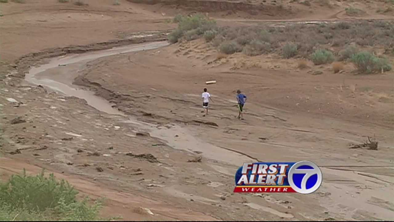 Rain quickly collected in arroyos, rushing at dangerous speeds.  Today, our cameras spotted not one -- but three boys playing in ditches. Action seven news reporter Melissa Colorado has a warning for everyone.