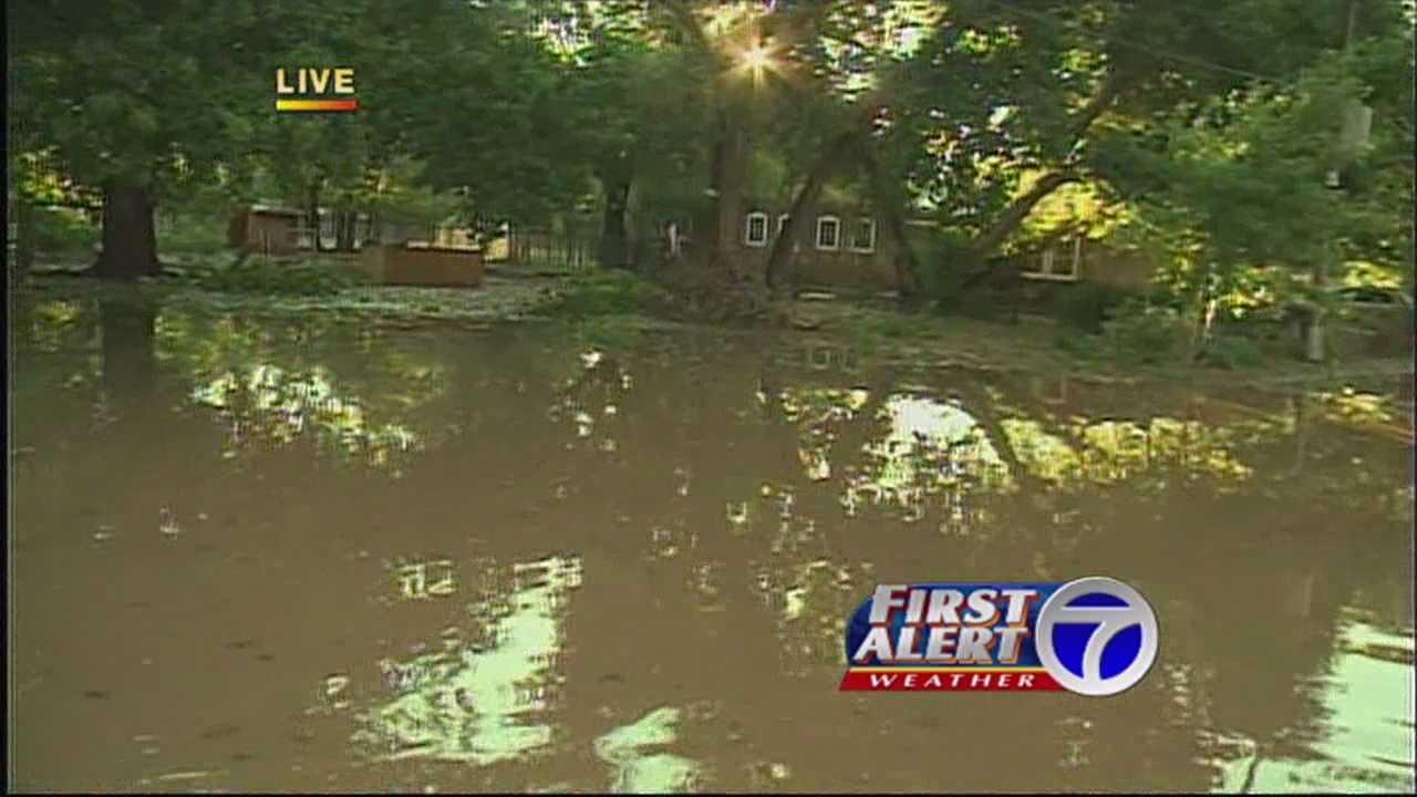 Rain floods Corrales
