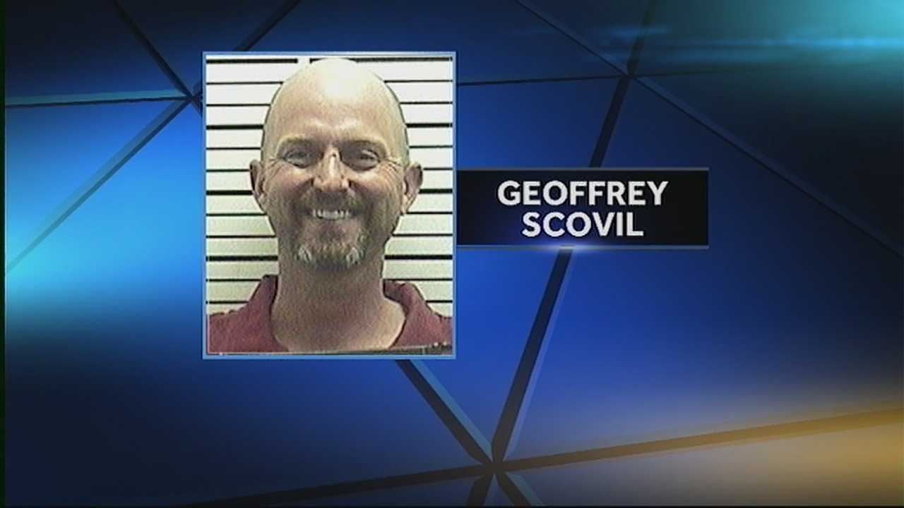Geoffrey Scovil was arrested after police say he bit his 3-year-old son in the face after an altercation.