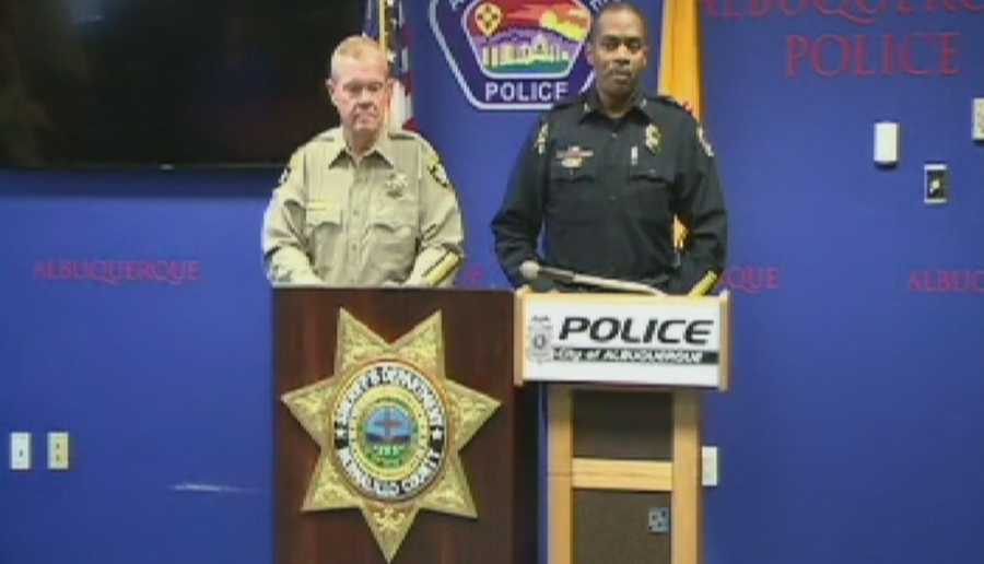 APD interim Chief Allen Banks and Bernalillo County Sheriff Dan Houston give briefing on Saturday's shooting.