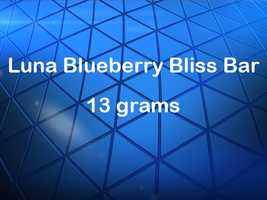 A Luna blueberry bliss bar has 13 grams of sugar