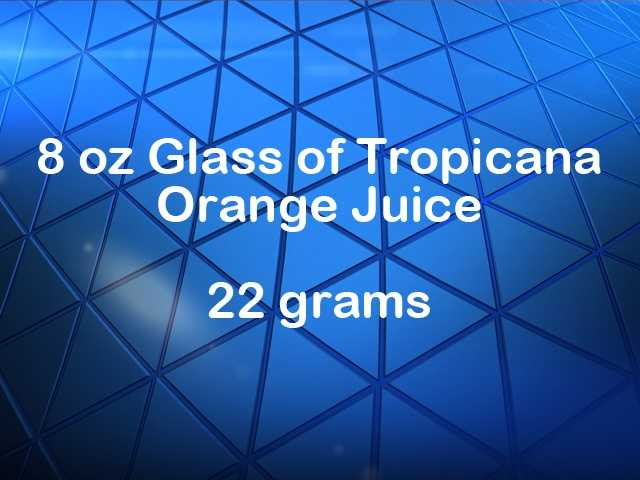 An 8-ounce glass of Tropicana orange juice has 22 grams of sugar.