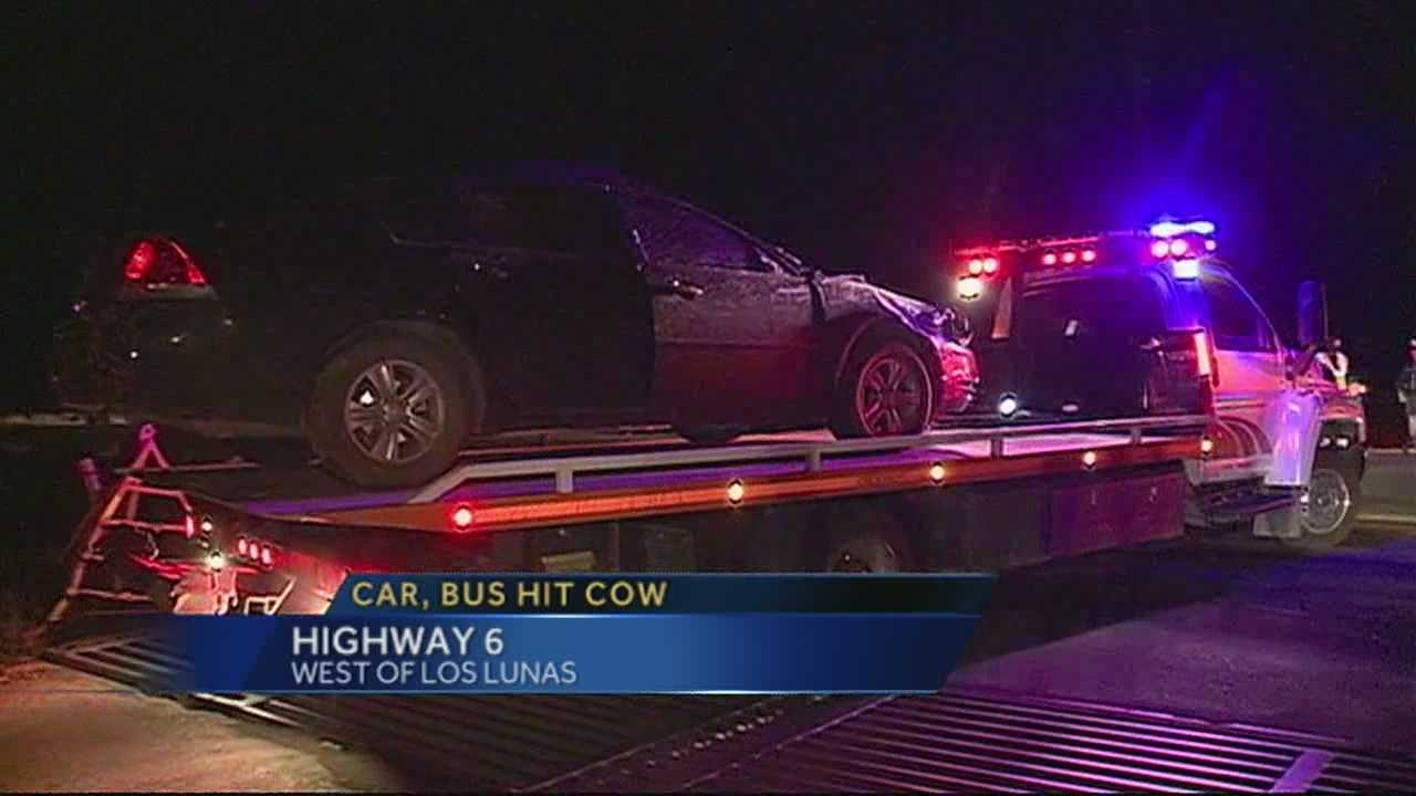 A school bus and a car hit and kill a cow in Los Lunas, shutting down highway 6 for several hours.