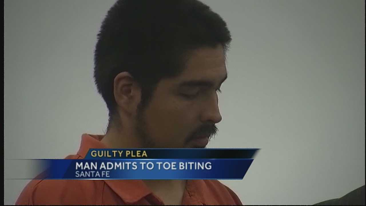 The man accused of biting his ex-girlfriend's toe, on two separate occasions, faced a judge today.