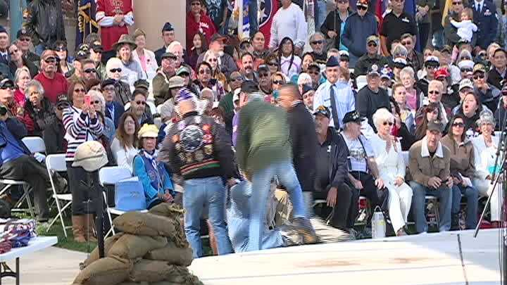 During Monday's Veterans Day Ceremony in Albuquerque, a protester interrupted Gov. Susana Martinez as she was being introduced before her speech.
