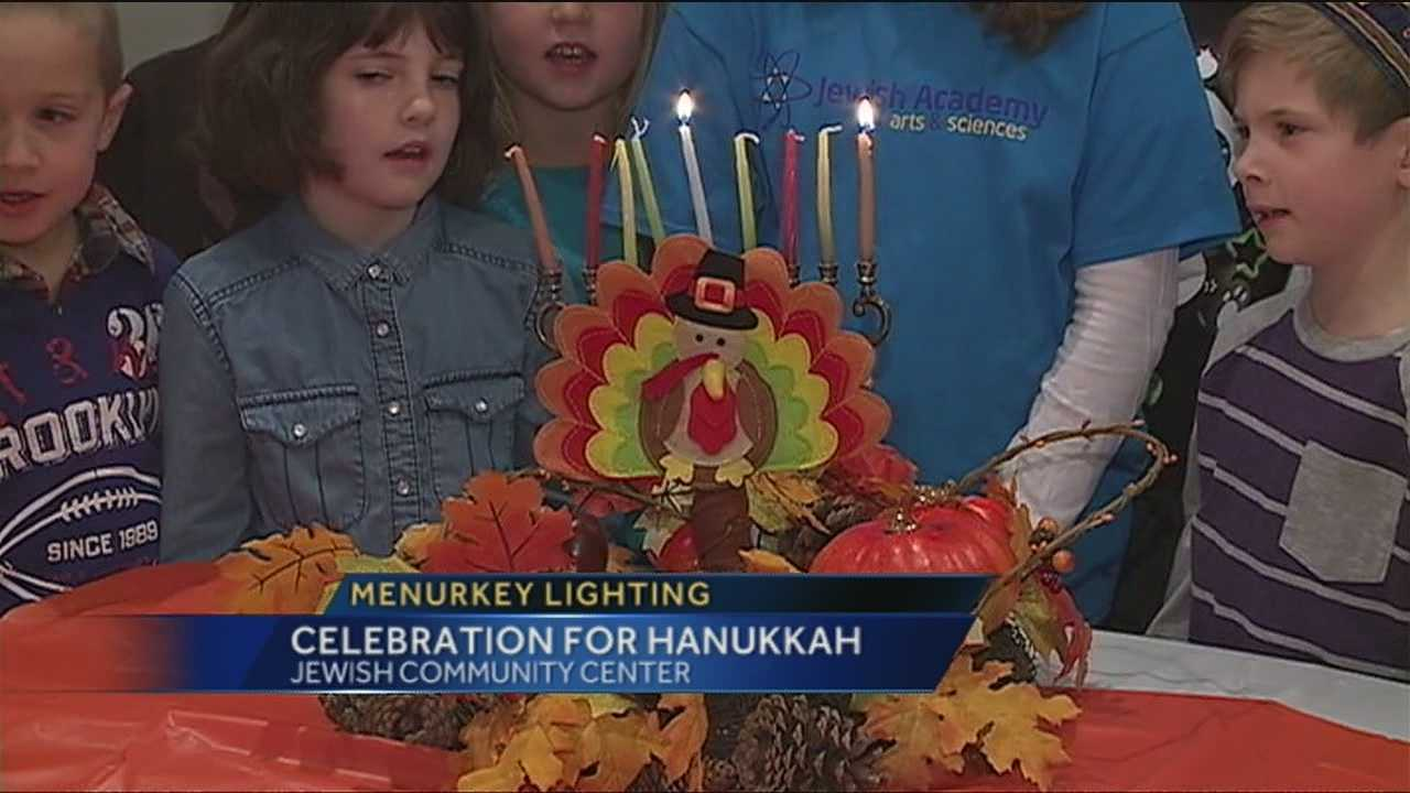 For those who have never been to a Menurkey lighting, it is a combination menorah and Thanksgiving turkey.