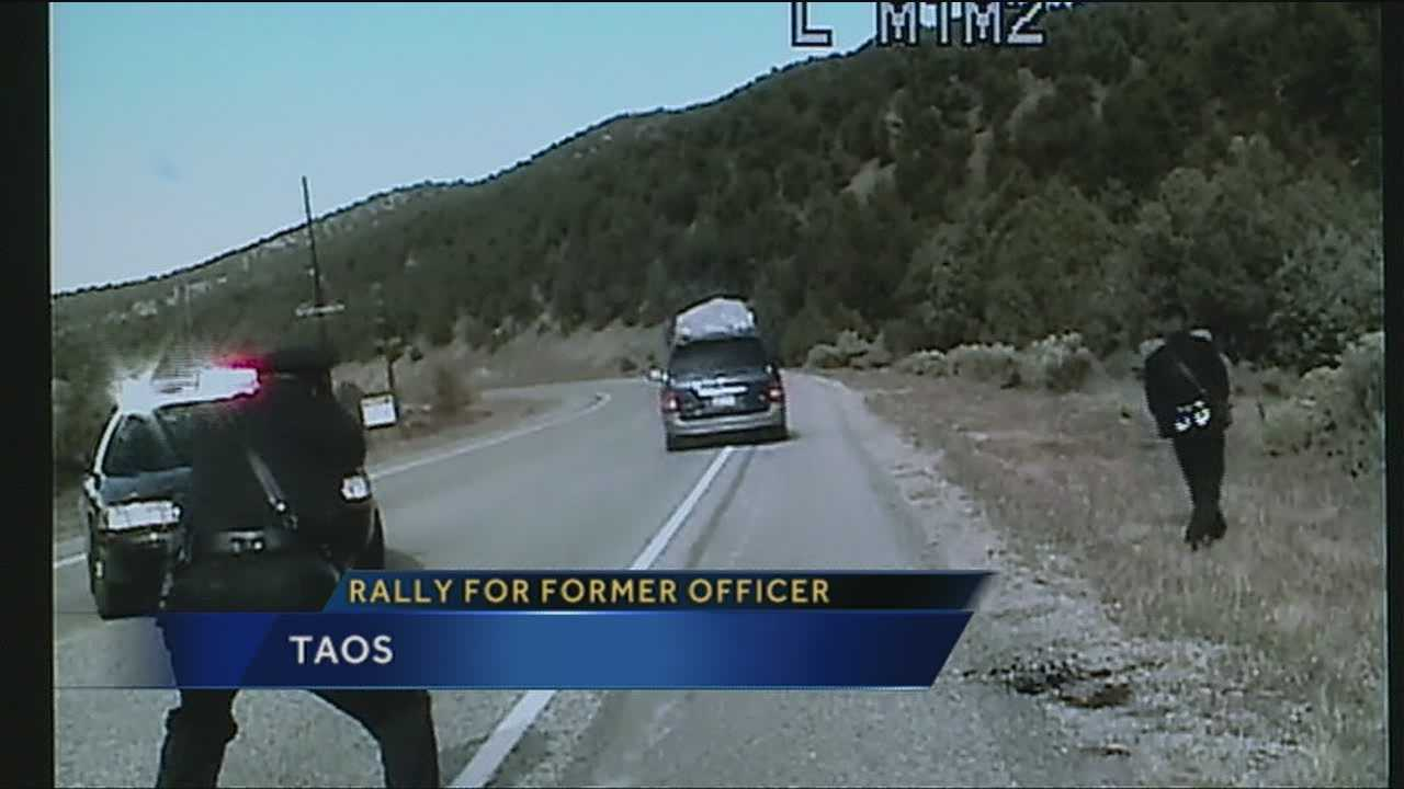 After a state police officer is fired, residents in Taos are now protesting in support of the fired trooper.