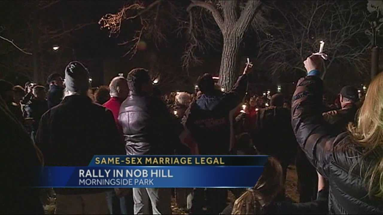 Supporters of the supreme courts decision gathered for an impromptu rally at a park in Albuquerque's Nob Hill.