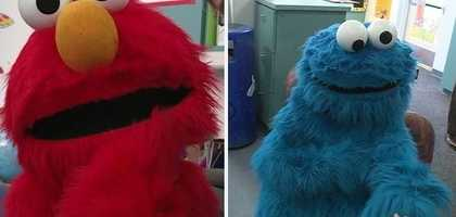 13) That time Elmo and Cookie Monster visited the Carrie Tingley Hospital