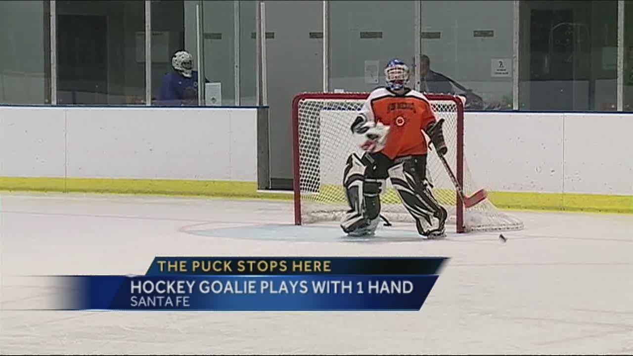 One-handed goalie defies odds for NM Mustangs