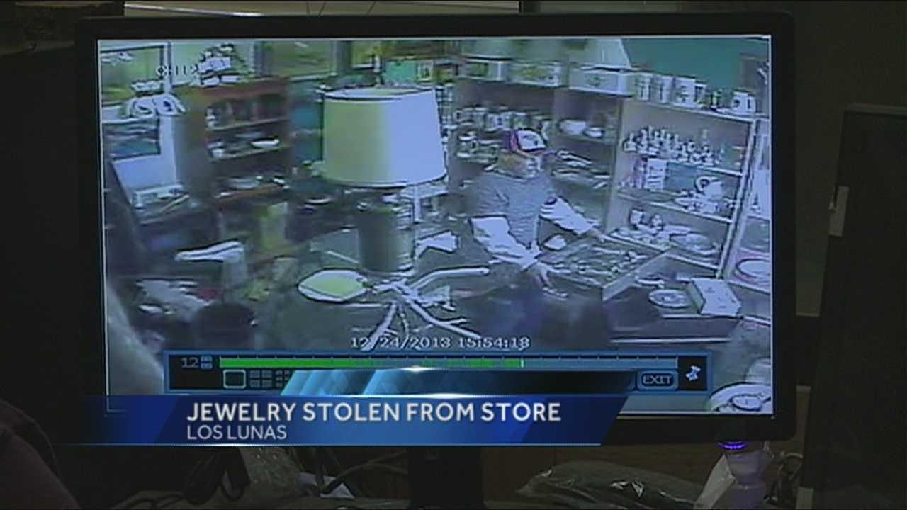 Bold thief stuff's jewelry down his pants