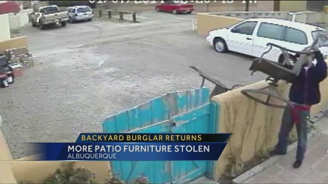 For the second time in a week a backyard burglar struck, this time caught on camera by a northeast Albuquerque family stealing their patio furniture.