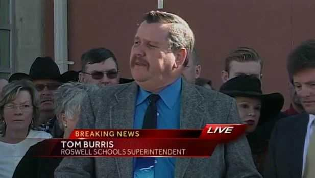 "Tom Burris, Roswell Independent School District superintendent: ""The 10 seconds from when this thing started until the teacher had control of the weapon -- there was no cowardice."""