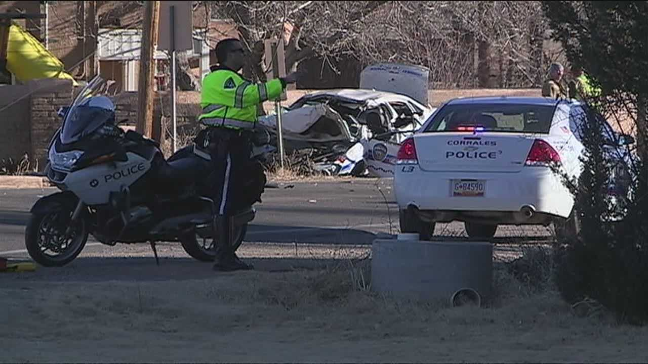 An officer was injured Tuesday morning after crashing his car following a 100 mph chase on Corrales Road.