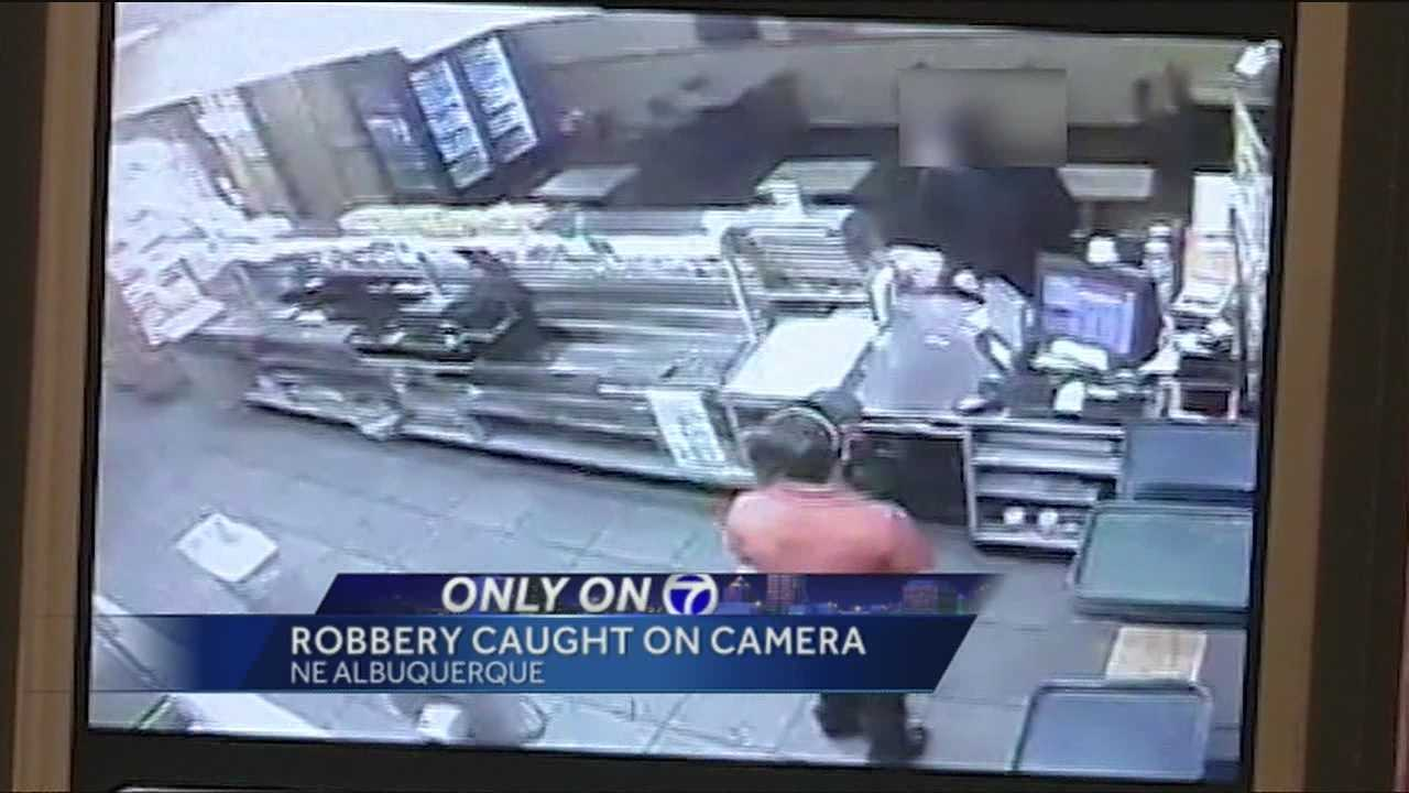 Police said they caught a knife-wielding sandwich shop robber moments after the attempted heist, and the incident was caught on camera.