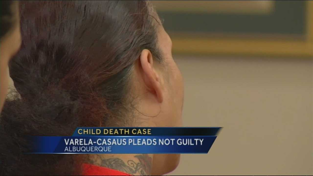 Four weeks to the day her son was found dead in the family's Albuquerque home, Synthia Varela-Casaus appeared in court.
