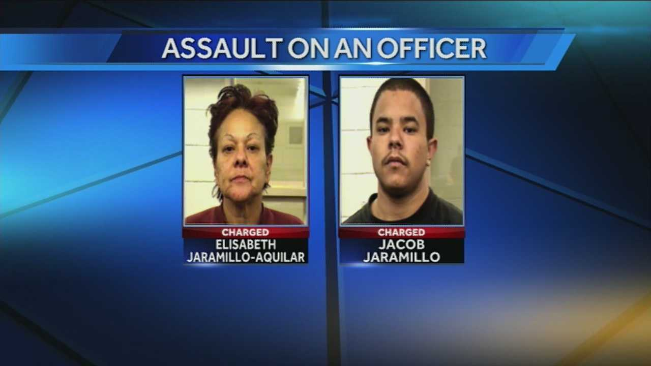 An Albuquerque mother and son were arrested recently and charged with attacking police officers.