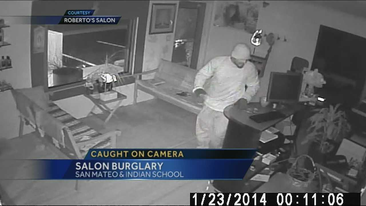 A salon burglary in Northeast Albuquerque caught on camera.