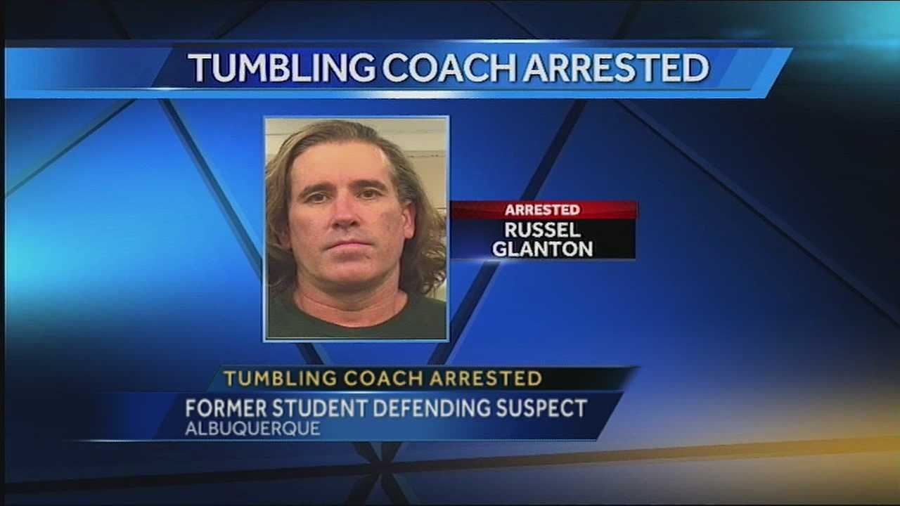 A former student is coming to the defense of a gymnastics coach, arrested and suspected of sexually touching a nine year old girl.