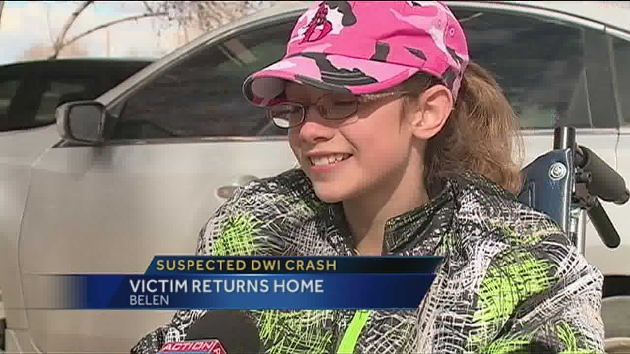 A young girl that was badly hurt in a suspected DWI crash has returned home.
