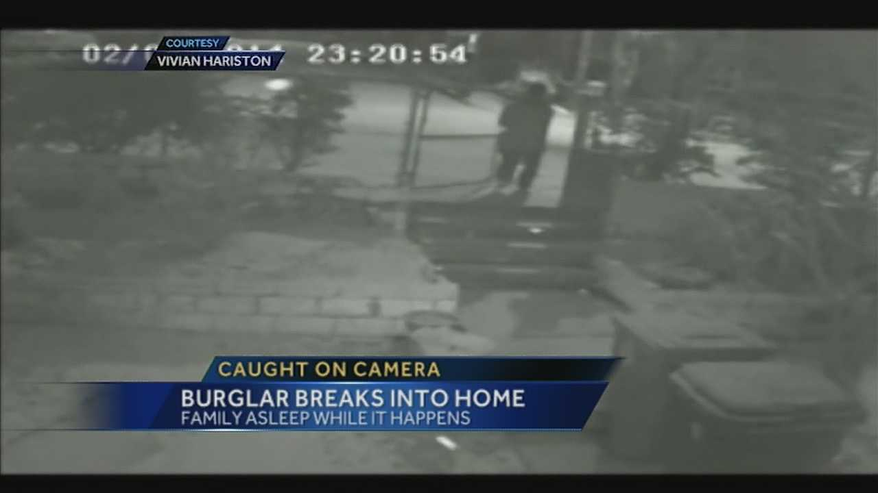 Burglar caught on surveillance cameras