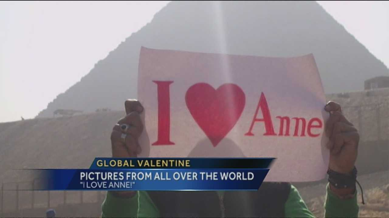 "The world is telling Albuquerque's Anne Bolger-Witherspoon, ""I love you,"" thanks to a global Valentine's Day plan orchestrated by her husband."