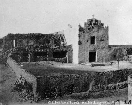 Old Indian Church Pueblo Laguna N.M. in 1879: View of the Laguna Pueblo mission church in New Mexico.
