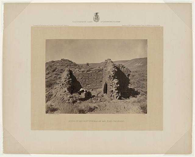 Ruins of Pueblo San Juan, N.M. in 1874: Photo shows the shadow cast by the photographer's stereo camera and tripod