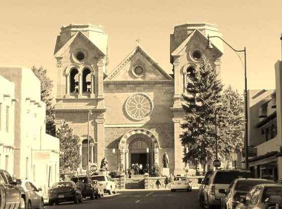 Corazon de Santa FeSt. Francis Cathedral Basilica shot from La Fonda Cross walk, downtown Santa Fe.