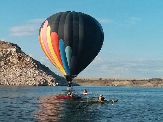 Balloons at the BUTTEThis photo was taken on Sept 8th 2013 at the Elephant Butte Balloon Rally, It was incredible to see the balloons landing on the lake and taking off again!!