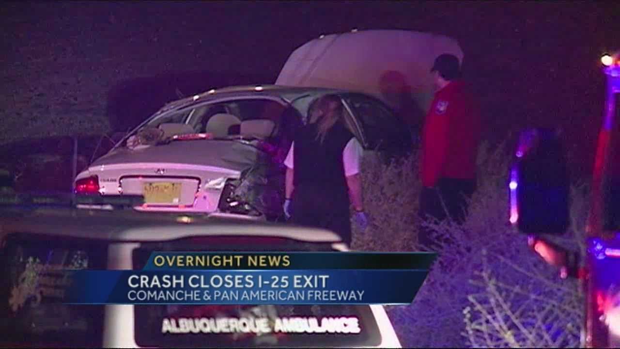 Overnight crash on comanche exit of I-25
