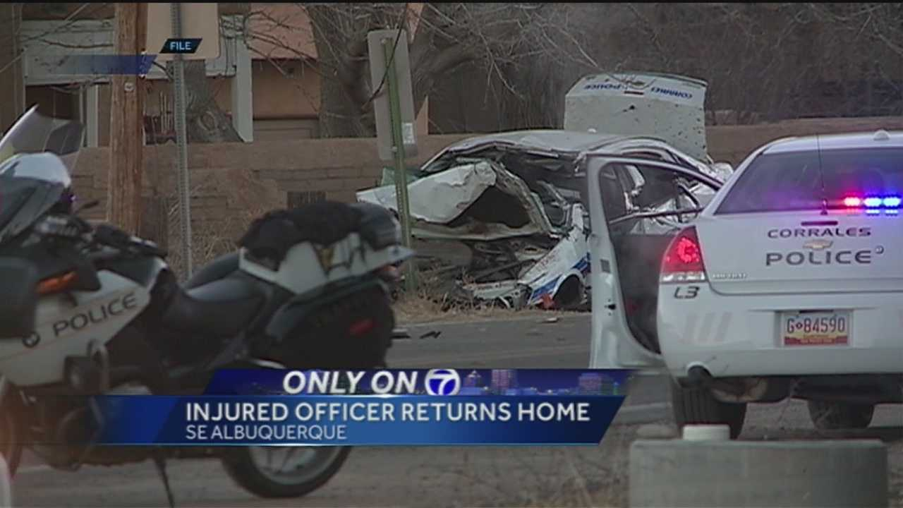 The Corrales officer seriously injured in a crash in January, returned home today.