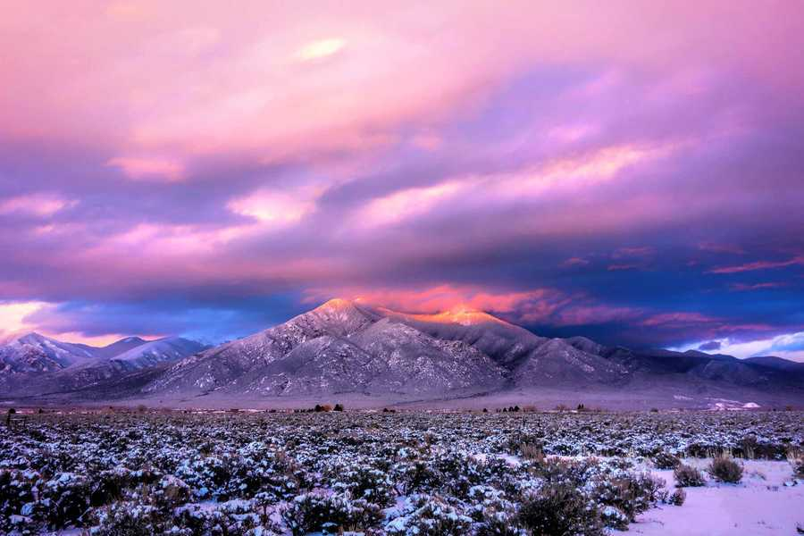 """""""Taos Mountain at Dusk"""" Photo taken from El Pado, NM. The colors at sunset are particularly intense in the winter."""