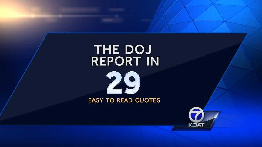 We've summarized the U.S. Department of Justice's report on APD using 29 direct quotes from the report.