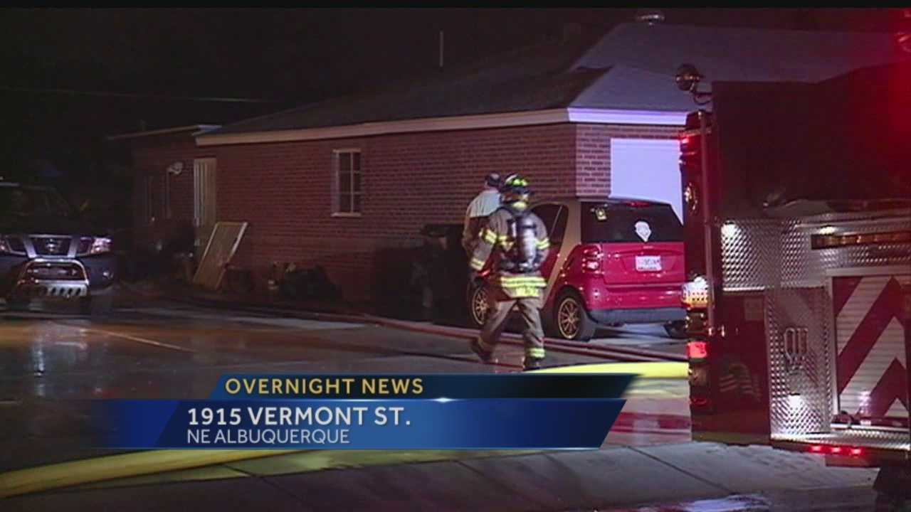 Firefighters battle overnight fire Vermont Street in Albuquerque