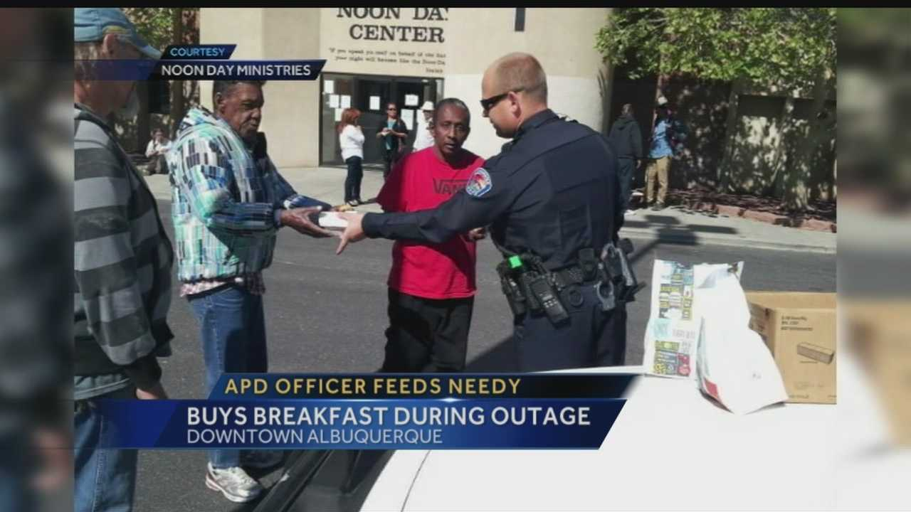 An Albuquerque Police Officer reached into his own pockets to make sure the needy  didn't go hungry.